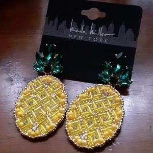 Nicole Miller Pineapple Statement Earrings